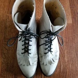 Vintage white leather lace up boots